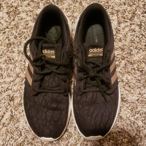 Black and Rose Gold Adidas Neo Cloud Foam Sneakers